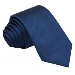 Midnight Blue Herringbone Silk Slim Tie