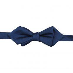 Midnight Blue Herringbone Silk Self Tie Pointed Bow Tie