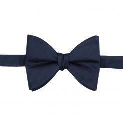 Navy Blue Herringbone Silk Self Tie Butterfly Bow Tie