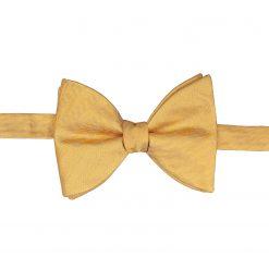 Primrose Yellow Herringbone Silk Self Tie Butterfly Bow Tie