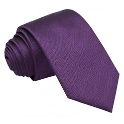 Purple Herringbone Silk Slim Tie