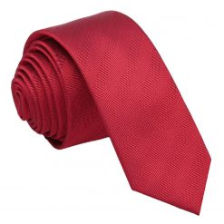 Red Herringbone Silk Skinny Tie