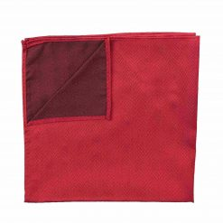 Red Herringbone Silk Pocket Square