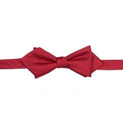 Red Herringbone Silk Self Tie Pointed Bow Tie