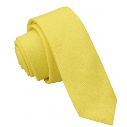 Daffodil Yellow Hopsack Linen Skinny Tie