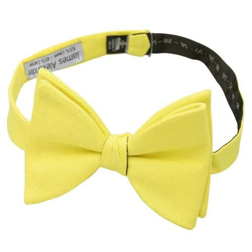 Daffodil Yellow Hopsack Linen Self Tie Butterfly Bow Tie
