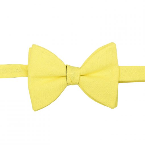 Daffodil Yellow  Hopsack Linen Self Tie Butterfly Bow Tie