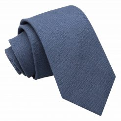 Dark Blue Hopsack Linen Slim Tie