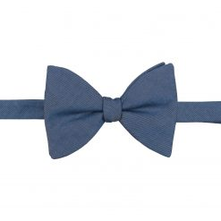 Dark Blue Hopsack Linen Self Tie Butterfly Bow Tie