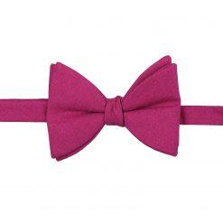 Dark Fuchsia Hopsack Linen Self Tie Butterfly Bow Tie
