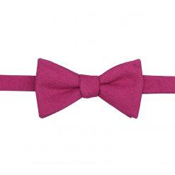 Dark Fuchsia Hopsack Linen Self Tie Thistle Bow Tie