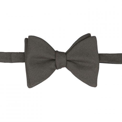 Dark Olive Hopsack Linen Self Tie Butterfly Bow Tie