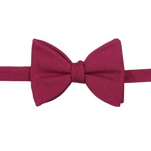Plum Hopsack Linen Self Tie Butterfly Bow Tie