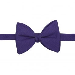 Purple Hopsack Linen Self Tie Butterfly Bow Tie