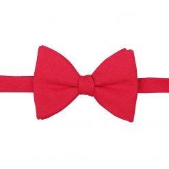 Red Hopsack Linen Self Tie Butterfly Bow Tie