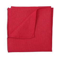 Red Hopsack Linen Pocket Square