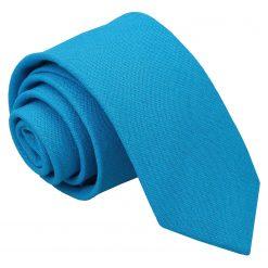 Turquoise Blue Hopsack Linen Skinny Tie