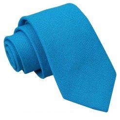 Turquoise Blue Hopsack Linen Slim Tie