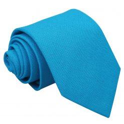 Turquoise Blue Hopsack Linen Classic Tie