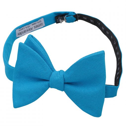 Turquoise Blue Hopsack Linen Self Tie Butterfly Bow Tie
