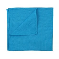 Turquoise Blue Hopsack Linen Pocket Square