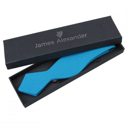 Turquoise Blue Hopsack Linen Self Tie Pointed Bow Tie