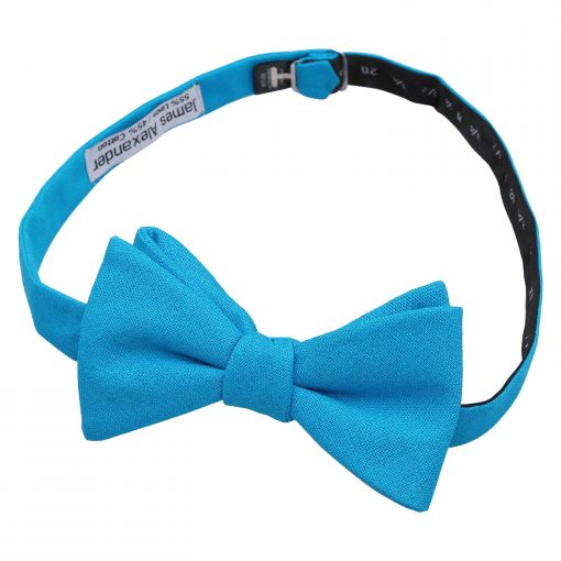 Turquoise Blue Hopsack Linen Self Tie Thistle Bow Tie