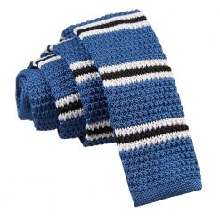 Blue with Black & White Thin Stripe Knitted Skinny Tie