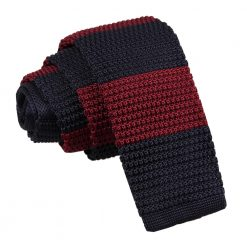 Burgundy & Navy Striped Knitted Skinny Tie