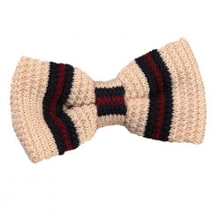 Cream with Burgundy & Navy Thin Stripe Knitted Pre-Tied Bow Tie