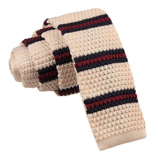 Cream with Burgundy & Navy Thin Stripe Knitted Skinny Tie