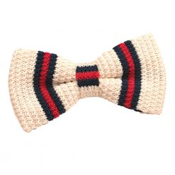 Cream with Red & Navy Thin Stripe Knitted Pre-Tied Bow Tie