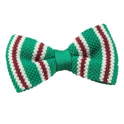 Green with Burgundy & White Thin Stripe Knitted Pre-Tied Bow Tie