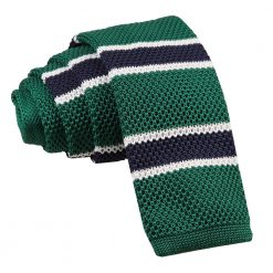 Green, Navy with White Thin Stripe Knitted Skinny Tie