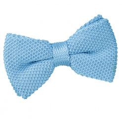 Baby Blue Knitted Pre-Tied Thistle Bow Tie