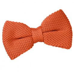 Burnt Orange Knitted Pre-Tied Thistle Bow Tie
