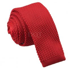 Crimson Red Knitted Skinny Tie