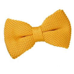 Marigold Yellow Knitted Pre-Tied Thistle Bow Tie