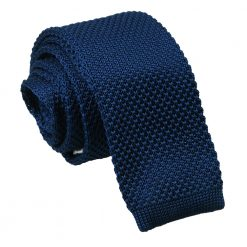 Navy Blue Knitted Skinny Tie