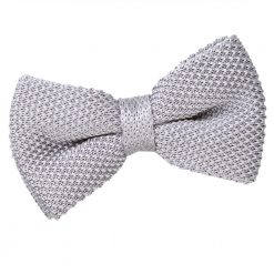 Silver Knitted Pre-Tied Thistle Bow Tie