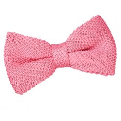 Strawberry Pink Knitted Pre-Tied Thistle Bow Tie