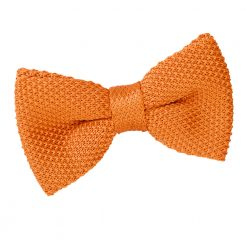 Tangerine Knitted Pre-Tied Thistle Bow Tie