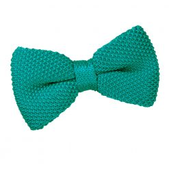 Teal Knitted Pre-Tied Thistle Bow Tie