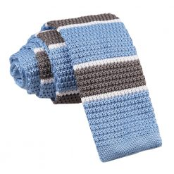 Light Blue, Grey with White Thin Stripe Knitted Skinny Tie
