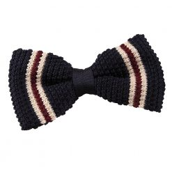 Navy with Burgundy & Cream Thin Stripe Knitted Pre-Tied Bow Tie