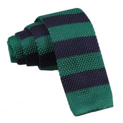 Navy & Green Striped Knitted Skinny Tie