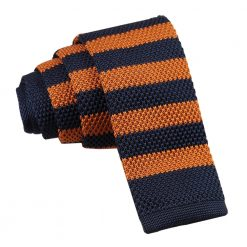 Navy & Orange Striped Knitted Skinny Tie