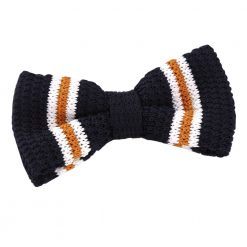 Navy with Orange & White Thin Stripe Knitted Pre-Tied Bow Tie