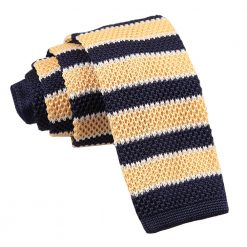 Pale Yellow, Navy with White Thin Stripe Knitted Skinny Tie