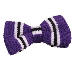 Purple with Black & White Thin Stripe Knitted Pre-Tied Bow Tie